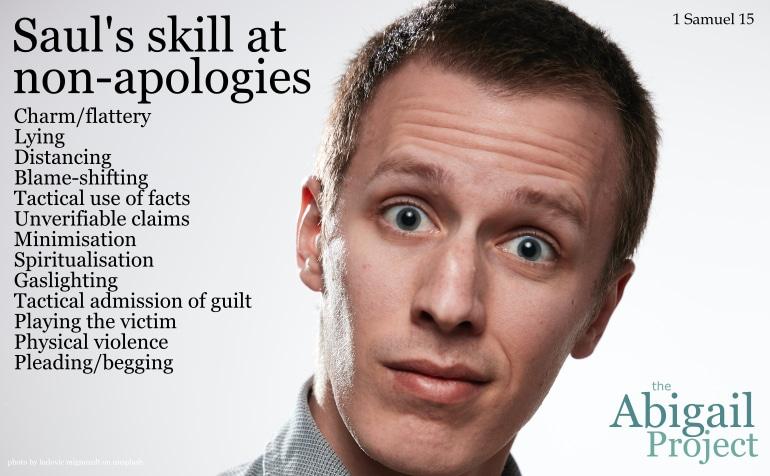 Saul's skill at non-apologies